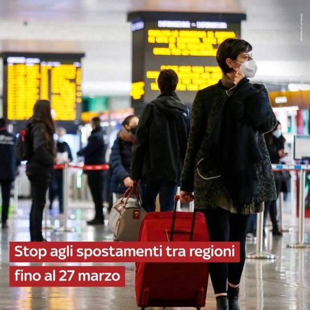 STOP AGLI SPOSTAMENTI FINO AL 27 MARZO