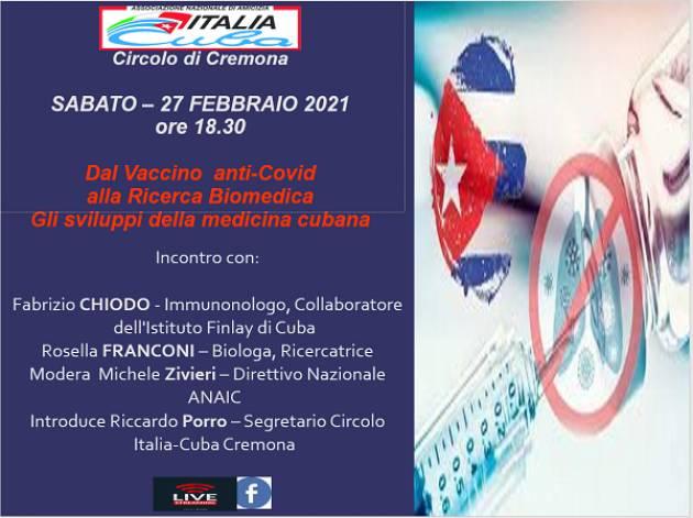 Italia-Cuba Cremona CUBA SOBERANA Dal vaccino antiCovid, alla ricerca biomedica