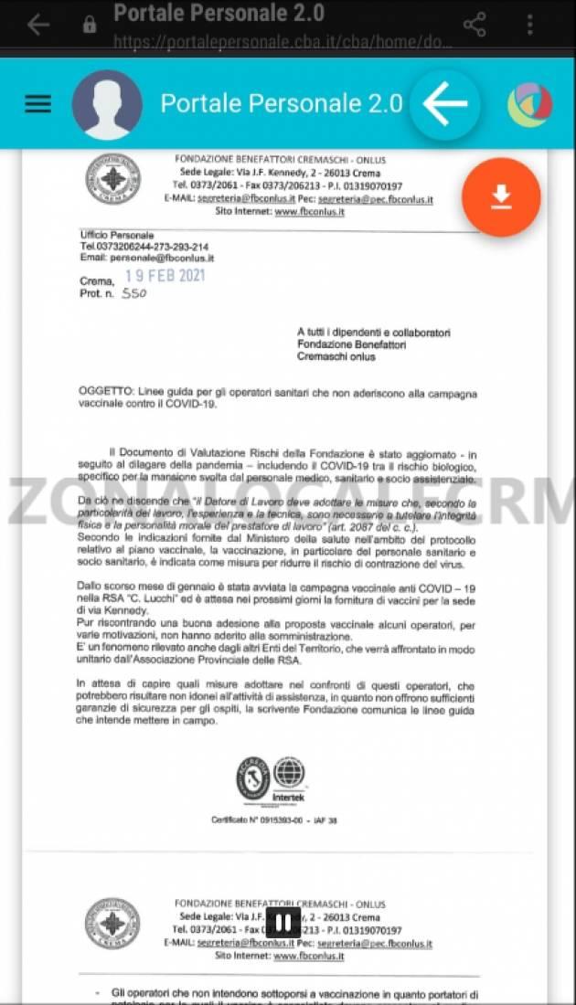 DOCUMENTO : OPERATORI RSA CREMASCHI RIFIUTANO IL VACCINO