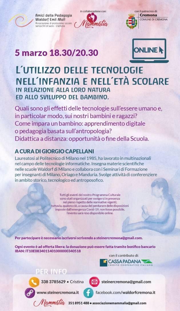 Cremona Conferenza per diffondere il pensiero e la pedagogia di Rudolf Steiner