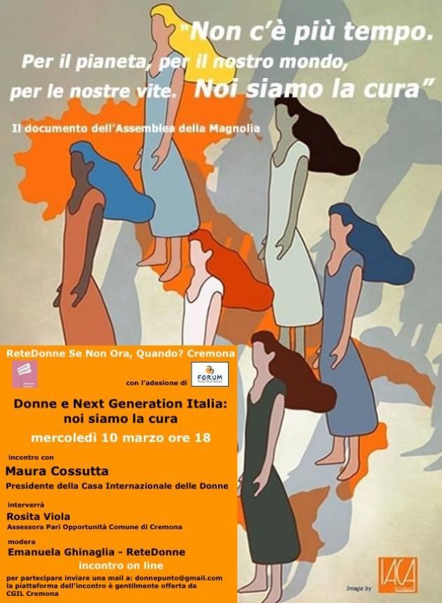 Cremona Donne e Next Generation Italia: noi siamo la cura