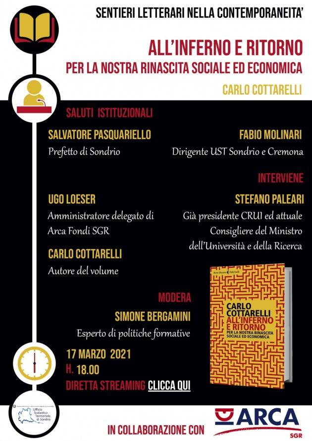 UST Cremona Sentieri letterari: il 17 marzo incontro online con Carlo Cottarelli (ore 18)