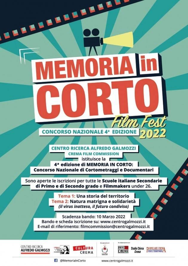 Crema  Il Centro Galmozzi presenta Memoria in Corto, 4a Edizione