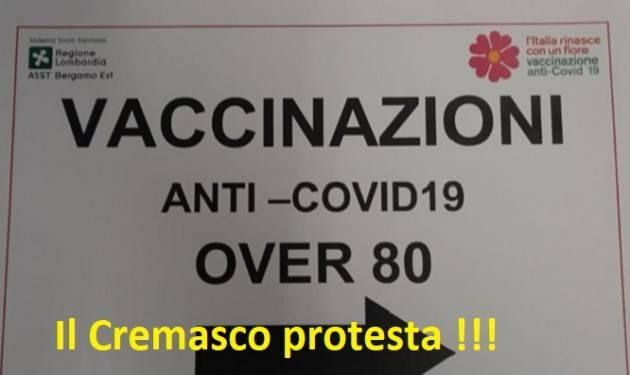 Crema e Cremasco Lettera Regione su grave disservizio vaccinazione over80
