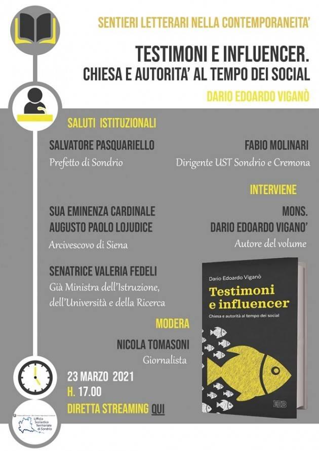UST Cremona Sentieri letterari: il 23 marzo incontro con Mons Dario Viganò