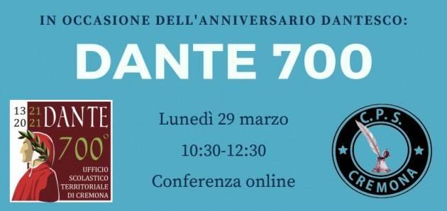 CPS Cremona Conferenza sull'anniversario  morte di Dante| 29 marzo ore 10.30