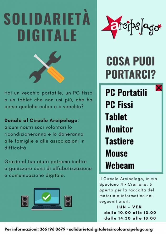 Solidarietà Digitale - Progetto solidale del Circolo Arcipelago di Cremona