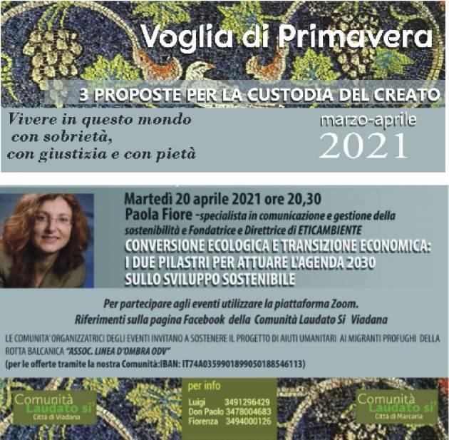 Viadana Conversione ecologica e transizione: relatrice  Dottoressa PAOLA FIORE