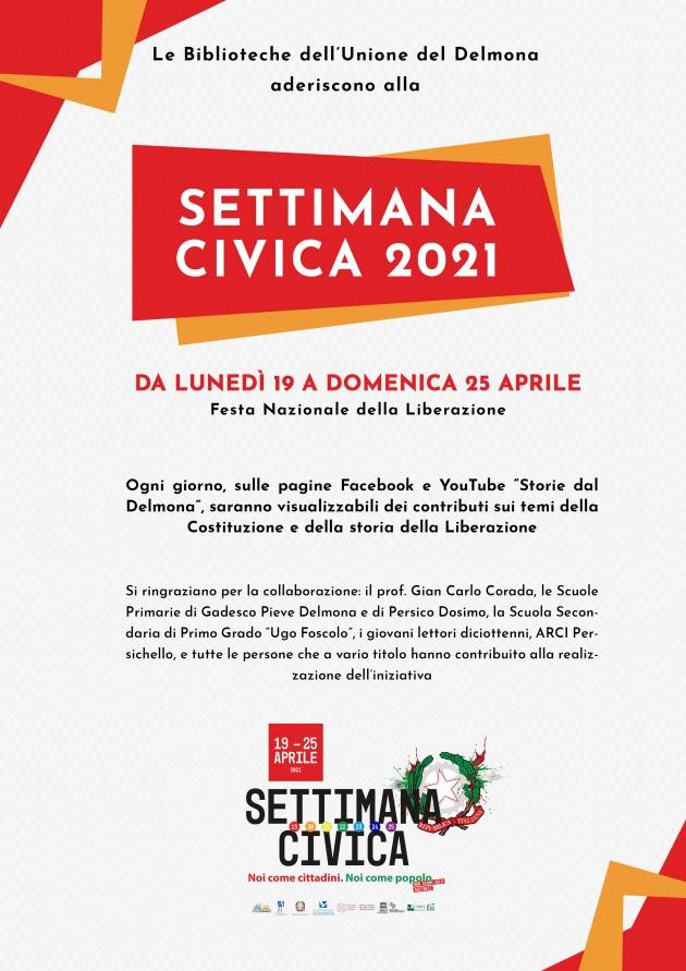 Settimana Civica 2021 Gadesco Pieve Delmona e Persico Dosimo Celebrano 25 aprile