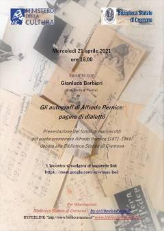 Cremona Gli autografi di Alfredo Pernice: pagine di dialetto Incontro on line