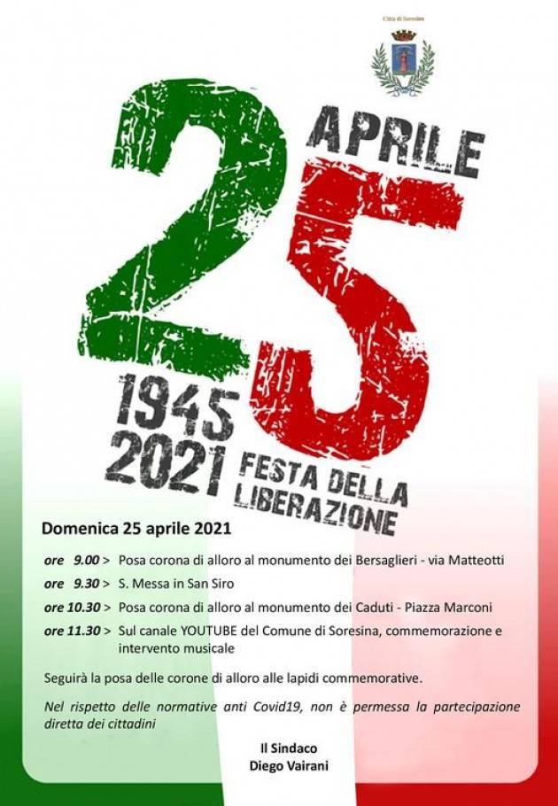 Soresina Diego Vairani rende noto il programma del 25 Aprile 2021