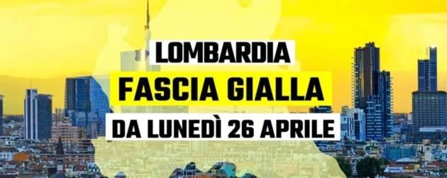 LOMBARDIA - DA OGGI ZONA GIALLA