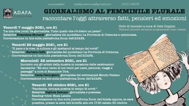 ADAFA CR   prossimo Ciclo di Eventi : 'GIORNALISMO AL FEMMINILE PLURALE'