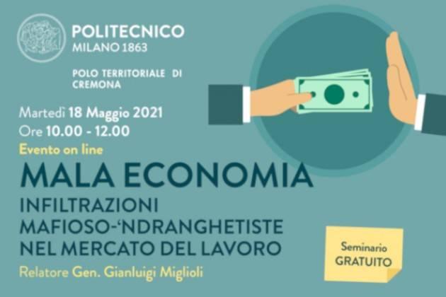 MALA ECONOMIA Nuovo seminario al Campus di Cremona del Politecnico di Milano