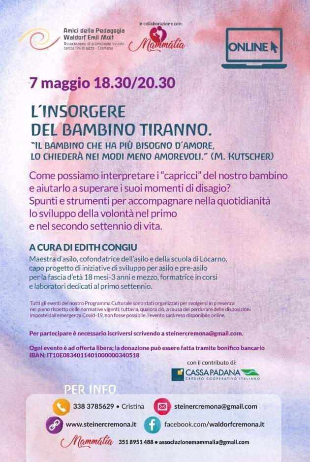 Cremona  Incontro genitori L'INSORGERE DEL BAMBINO TIRANNO il 7 maggio