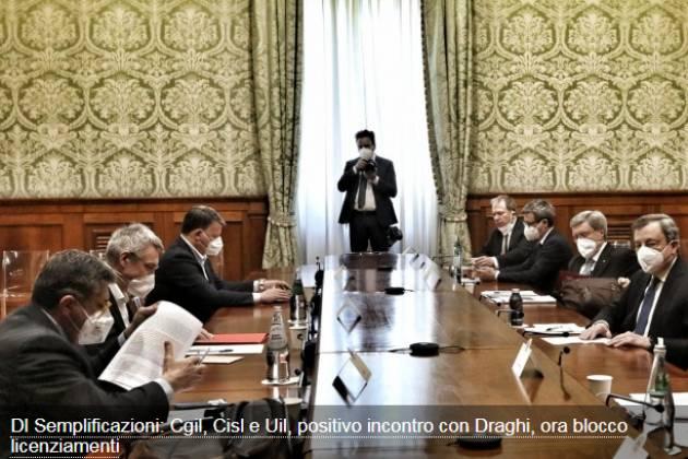 Dl Semplificazioni: Cgil, Cisl e Uil, positivo incontro con Draghi