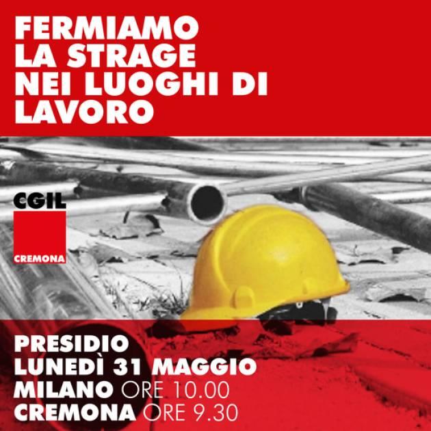 FIM-FIOM-UILM Cremona  Fermiamo strage luoghi lavoro Il 31/5 Presidio Prefettura