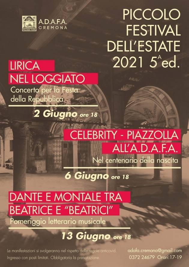Cremona 'Piccolo Festival dell 'Estate 2021'Quinta Edizione 2-6-13 giugno