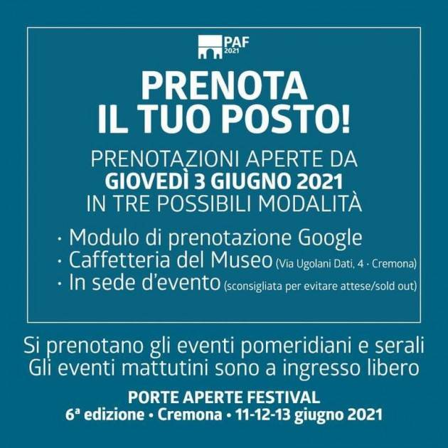 Il programma  e le modalità di accesso  del Porte Aperte Festival 2021