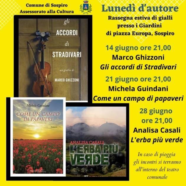 'Lunedì d'autore', la rassegna estiva di gialli promossa dal comune di Sospiro arriva alla seconda serata.