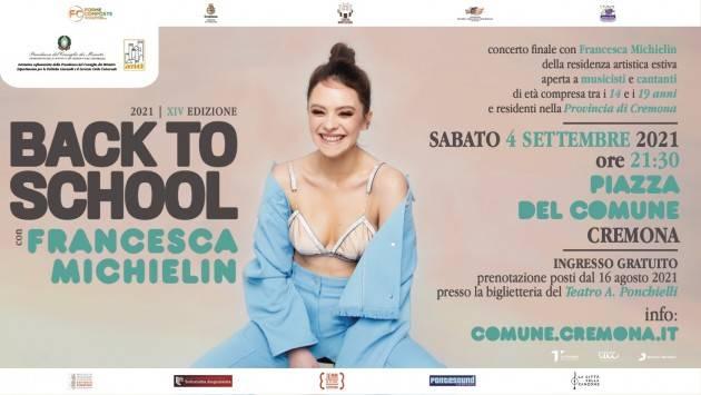 Back to School 2021, concerto di Francesca Michielin 4 settembre