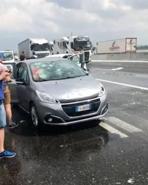 Forte grandinata Direzione Milano Fiorenzuola D'Arda e Fidenza (Video)