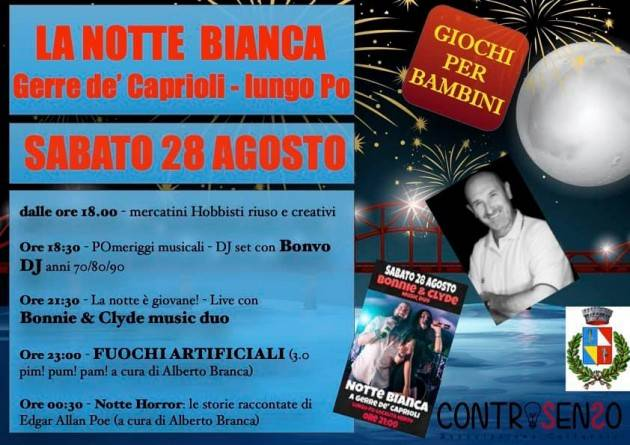 Domani sera musica e fuochi artificiali per la 'Notte bianca' a Gerre de' Caprioli
