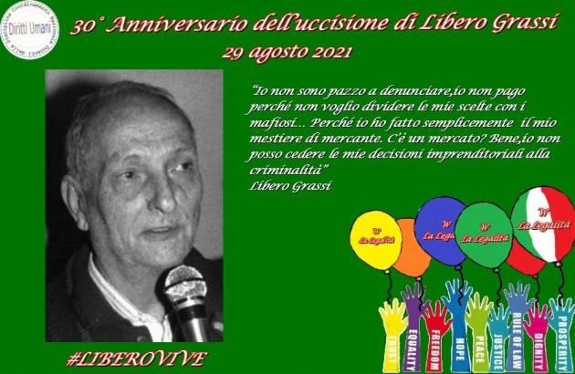 CNNDU Commemorazione uccisione di Libero Grassi nel 30° Anniversario 29/08/1991