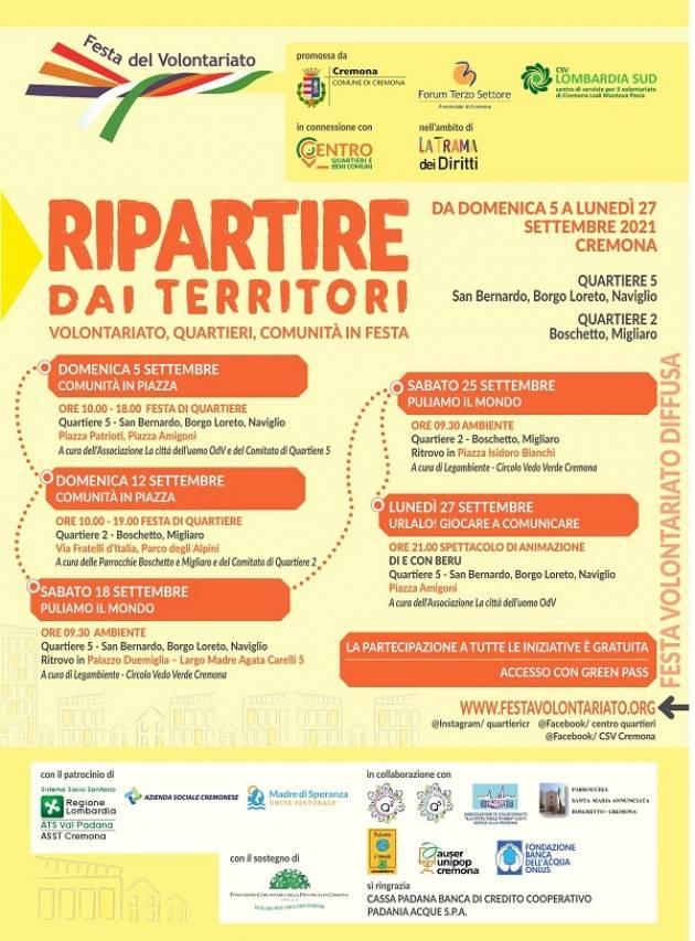 CR  FESTA VOLONTARIATO dal 5 al 27 /9 RIPARTIRE DAI TERRITORI