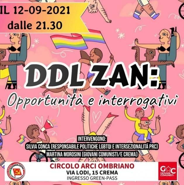 DDL ZAN: Opportunità e interrogativi Incontro a Crema il 12 settembre