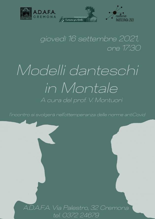 ADAFA CR Incontro 'Modelli danteschi in Montale 'cura prof. Vincenzo Montuori