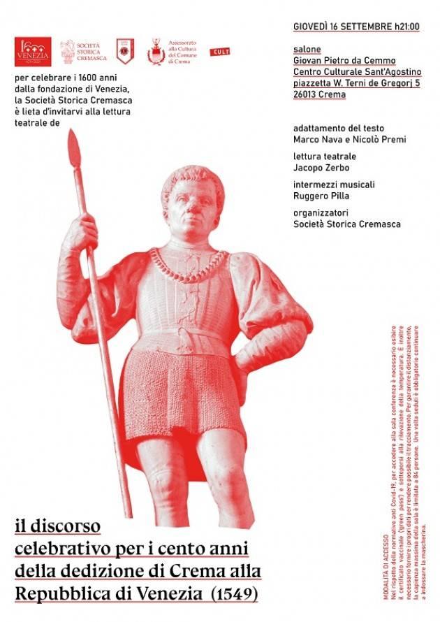 Eventi 16 e 18 settembre  della Società Storica Cremasca
