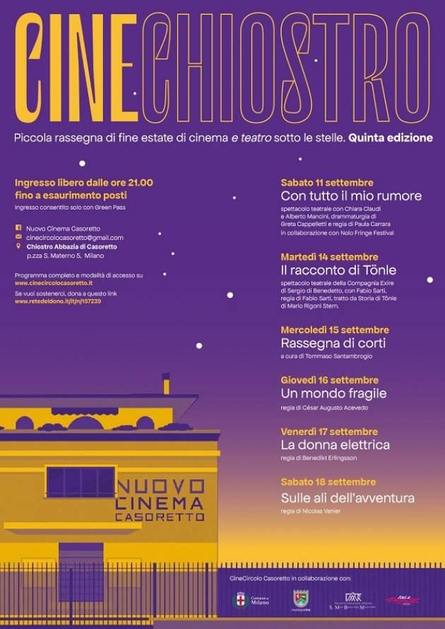 Milano  CineChiostro 2021 (11 e 14 settembre; 15-18 settembre)