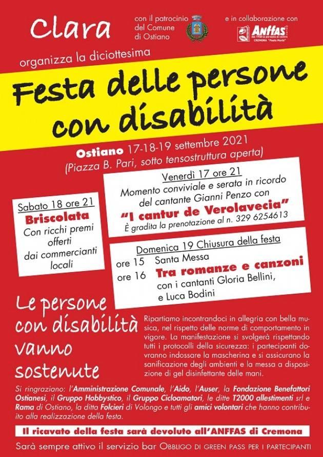 Aaffas Torna la Festa delle persone con disabilità a Ostiano