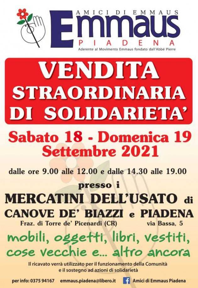 EMMAUS VENDITA STRAORDINARIA DI SOLIDARIETA' IL 18 e 19 settembre 2021