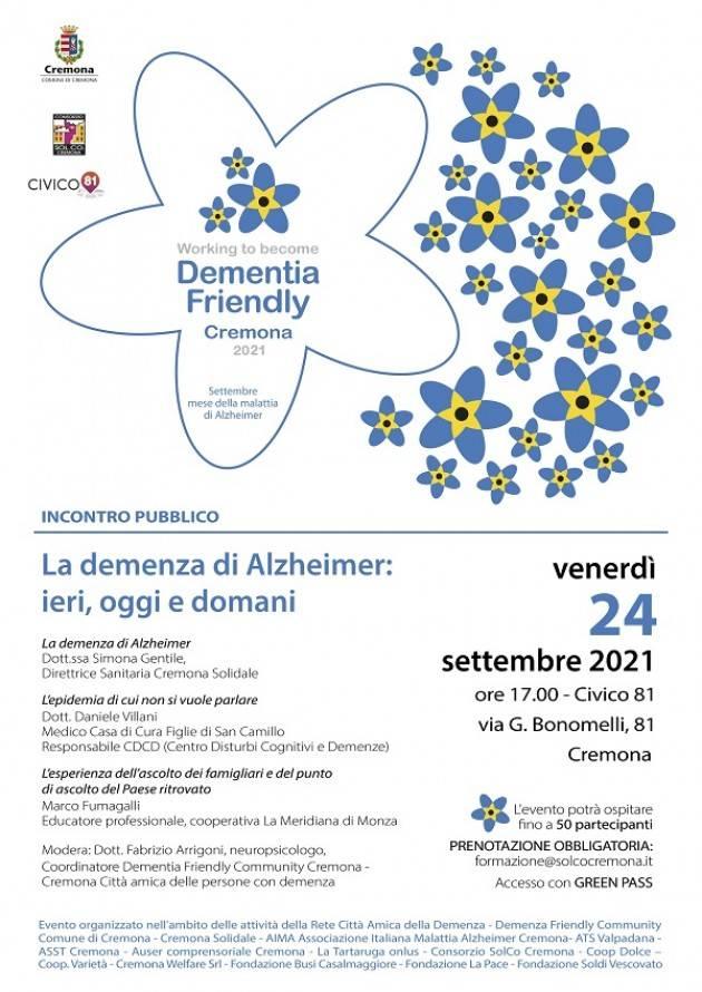 Cremona Il 24 settembre l'incontro La demenza di Alzheimer: ieri, oggi e domani