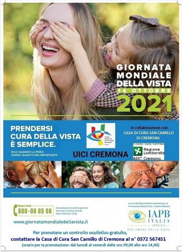 UICI Cremona GIORNATA MONDIALE DELLA VISTA GIOVEDI' 14 OTTOBRE 2021