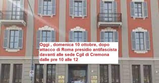 Roma Attacco fascista alla Cgil. Oggi,10 ott.,presidio in Via Mantova ore 10
