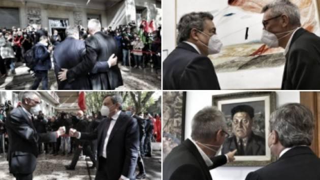 Mario Draghi arriva nella sede della Cgil per incontrare Maurizio Landini