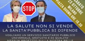 Milano,  Forte manifestazione contro la riforma sanitaria Moratti e Fontana
