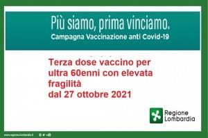 IMPORTANTE Lombardia Terza dose vaccino per ultra 60enni con elevata fragilità