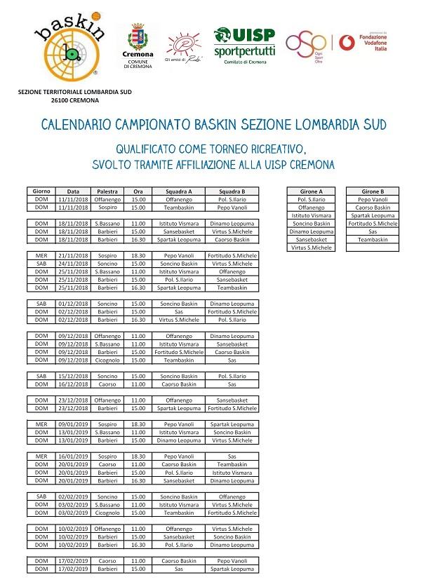 Calendario Cremonese.Baskin Al Via Il Campionato Cremonese Le Partite Del 18